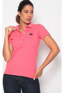 Polo Lisa Com Bordado - Rosa & Azul Escuroclub Polo Collection