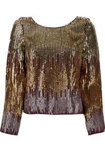 Rixo Ombré Sequin Blouse - Dourado