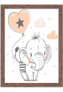 Quadro Decorativo Infantil Elefantinho Fofo Madeira - Grande