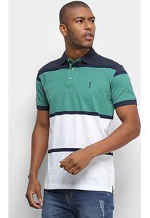 Camisa Polo Aleatory Fio Tinto Bicolor Masculina - Masculino-Verde+Azul