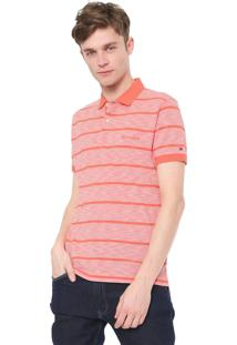 Camisa Polo Tommy Hilfiger Reta Basic Stripe Coral