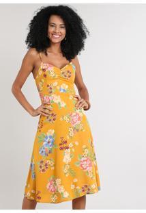 Vestido Feminino Midi Estampado Floral Com Franzido Decote V Mostarda
