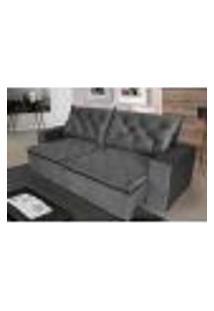 Sofá 3 Lugares Quality Com Pillow Retrátil E Reclinável 2,10M Veludo Grafite