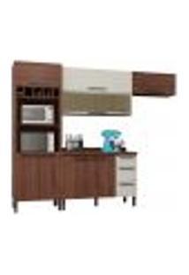 Cozinha Modulada Compacta 5 Peças Viv Concept C02 Nogueira/Off White - Kit´S Paraná