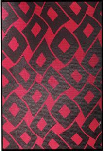 Tapete Sisllê Losangos Ii Retangular Polipropileno (50X80) Preto E Vermelho