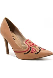 Sapato Zariff Shoes Scarpin Bordado Nude