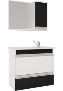 Conjunto De Banheiro Gabinete E Espelho Grécia 102X109X21.5 Cm Branco. Preto