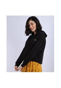 Blusão De Moletom Feminino Lisa Simpson Com Capuz Preto