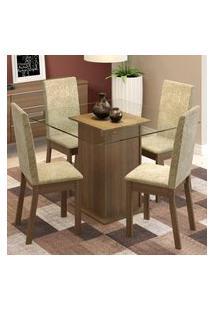 Conjunto Sala De Jantar Madesa Gabi Mesa Tampo De Vidro Com 4 Cadeiras - Rustic/Imperial Marrom