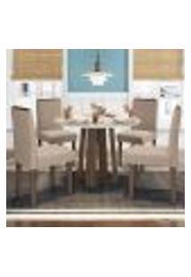 Mesa Isabela 100 Cm Castanho Off White 04 Cadeiras Amanda Castanho Vl02 New Ceval