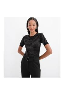 Blusa Canelada Em Tricô Com Fio Metalizado | Cortelle | Preto | Pp