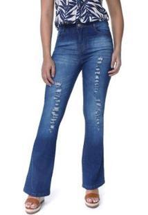 Calça Jeans Flare Com Rasgos E Abotoamento Feminina - Feminino