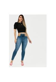 Calça Jeans Imporium Feminina Cós Alto Cintura Alta Skinny Azul
