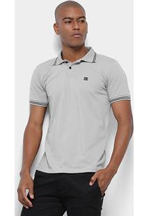Camisa Polo Long Island Logo Masculina - Masculino-Cinza+Branco