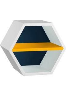 Nicho Hexagonal Favo Ii Com Prateleira Branco Com Azul Noite E Amarelo