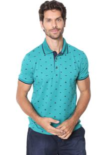 Camisa Polo Malwee Slim Estampada Verde