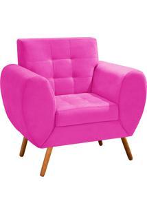 Poltrona Decorativa Grécia Suede Pink Com Pés Palito - D'Rossi