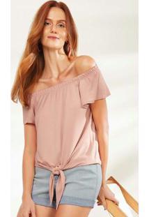 Blusa Rosa Claro Ciganinha Amarração Malwee