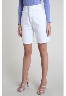 Bermuda De Sarja Feminina Mindset Cintura Super Alta Com Bolsos Off White