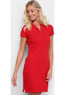 Vestido Polo Tommy Hilfiger New Chiara Str Listrado - Feminino-Vermelho