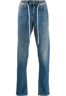 Off-White Drawstring Belt Slim-Fit Denim Jeans - Azul