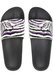 Sandália Slide Zaxy Zebra Preto