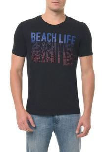 Camiseta Ckj Mc Estampa Beach Life Preta Camiseta Ckj Mc Estampa Beach Life - Preto - Gg