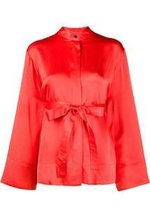 Mcq Alexander Mcqueen Wide Sleeves Belted Silk Blouse - Vermelho