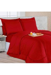 Kit Edredom Soft Casa Dona Casal + 4 Porta Travesseiros E Lençol Vermelho