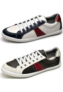 Kit Sapatênis Top Franca Shoes - Masculino-Branco+Preto