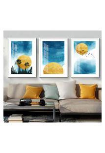 Quadro 60X120Cm Abstrato Nórdico Sol De Sigel Azul Moldura Branca Com Vidro Decorativo Interiores