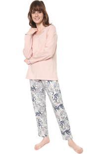 Pijama Pzama Estampado Rosa/Off-White