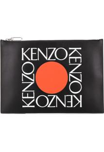 Kenzo Bolsa Clutch Com Estampa De Logo - Preto