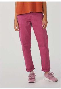 Calça Feminina Regular Em Sarja Com Elastano Rosa
