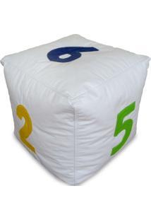 Puff Infantil Dado Grande Em Couro Sintético Unissex Branco Com Números Coloridos