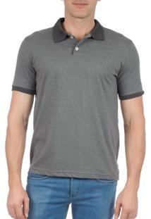 Camisa Polo Masculina Chumbo Com Detalhe - P