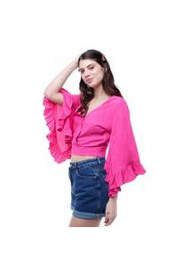 Blusa Cropped Mangas Flare 7/8 Pop Me Rosa