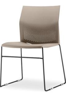 Cadeira Connect Assento Bege Base Fixa Preta - 53761 Sun House