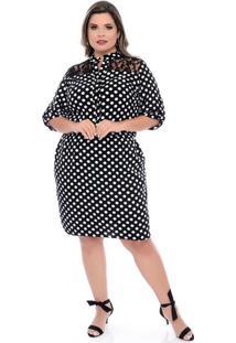 Vestido Camisa Poá Plus Size