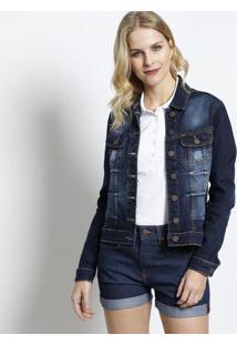 Jaqueta Jeans Estonada Com Pespontos - Azul Escurolee