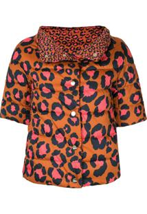 Herno Jaqueta Cropped Matelassê Com Animal Print - Marrom