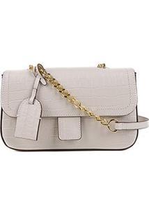 Bolsa Couro Shoestock Flap Croco Color Chain Feminina - Feminino-Off White