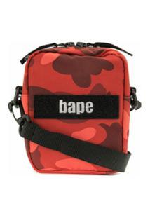 A Bathing Ape® Bolsa Tiracolo Com Estampa Camuflada - Vermelho