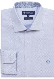 Camisa Dudalina Manga Longa Fio Tinto Maquinetada Masculina (Branco, 6)