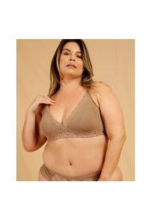 Sutiã Plus Size Feminino Top Corpete Tule Bordado Dilady