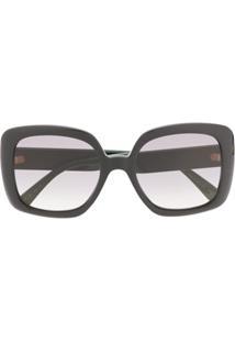 Gucci Eyewear Gg Web Oversized Frame Sunglasses - Preto