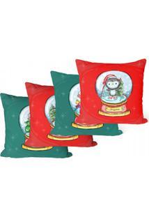 Kit Com 4 Capas Para Almofadas Decorativas De Natal Palavras 35X35Cm - Vermelho - Dafiti