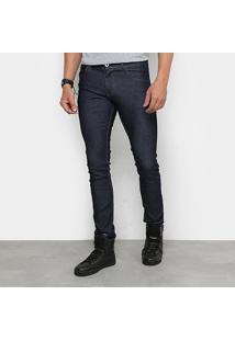Calça Jeans Reta Rock Blue Estonada Masculina - Masculino