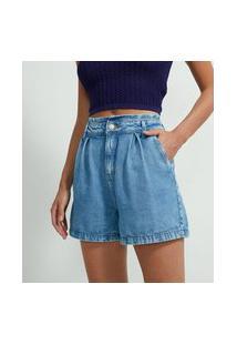 Bermuda Clochard Jeans Com Botão De Pérola E Bolso Faca | A-Collection | Azul | 46