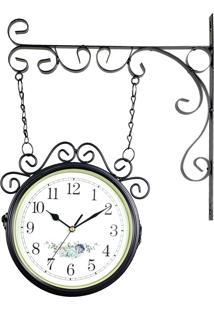 Relógio De Parede Com Suporte Preto Para Decoração - Estilo Estação Ferroviária Retrô Vintage Flores R3P Import
